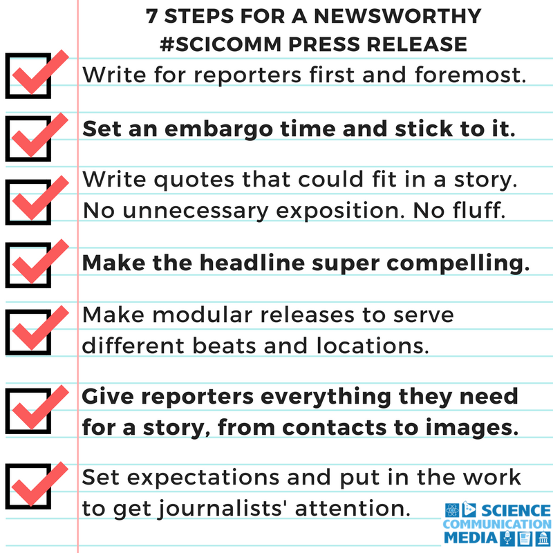 Seven Guidelines for Making a Newsworthy Science Press Release
